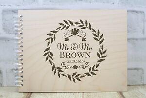 Personalised Wedding Guest Book Wedding Album Wedding Day Floral Wreath