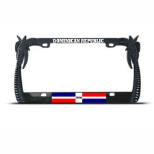 DOMINICAN REPUBLIC FLAG PALM TREE BLACK License Plate Frame Auto Tag Border