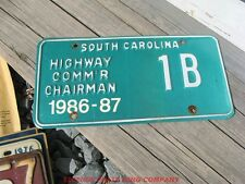 1986 86 1987 87 SOUTH CAROLINA SC HIGHWAY COMMISIONER CHAIRMAN LICENSE PLATE #1B