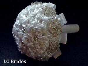 Wedding Brooch Bridal Bouquet Satin Flowers Crystal Rhinestone White