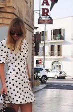RIXO London S Laura Polka Dot Crepe Mini Pretty Woman White Black Button Mini