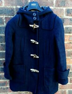 SUPERDRY MENS BLUE WOOL BLEND HOODED PADDINGTON DUFFLE COAT SIZE XS
