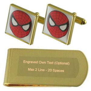 Film Spiderman Hero Gold-Tone Cufflinks Money Clip Engraved Gift Set