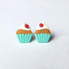 Polymer Clay Stud Summer Muffin Cupcake Kawaii Funny Miniature Food Earrings