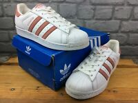 ADIDAS OG LADIES UK 5 EU 38 WHITE PEACH SUPERSTAR LEATHER TRAINERS RRP £75 M