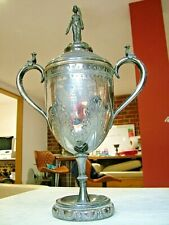More details for large 1914 caithness best short horn bull farming trophy cup & cover antique