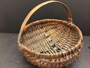"Vintage Early American Antique Woven Splint Egg Basket 13"" Wide"