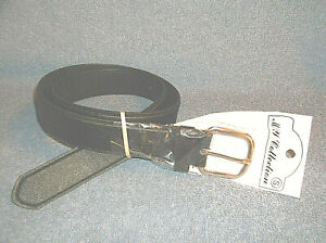 """MY COLLECTION SIZE 30 - 32 BLACK 1 1/4"""" REAL LEATHER BELT W/CHROME BUCKLE - NEW"""