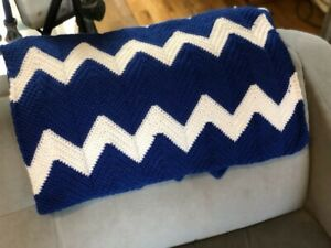 Crocheted blue and white Chevron afghan. Handmade. Approximately 4 ft by 5 ft