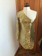 phard one shoulder gold sequin bodycon dress small bnwt