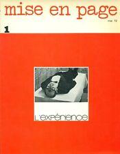 MISE EN PAGE. Revue trimestrielle. L'Experience. Mai 72