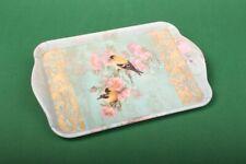 """Tablett """"Scarlett petrol"""" 13x21 cm Ambiente Snack Tablett Vögel Blüten Tischdeko"""