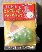 1960s Vintage Dime Store Toy GREEN Smoking Monkey & cigarettes blows smoke rings