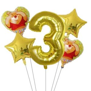 Winnie the Pooh Foil Number Balloon Happy birthday decorations 1set air balloons