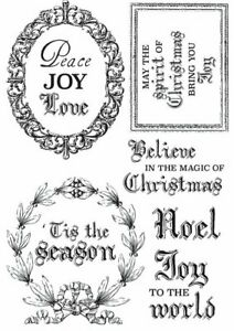 Kaisercraft Letters to Santa Clear Cling Stamps Christmas Greetings sentiments