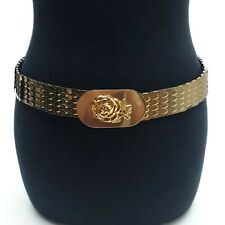 VINTAGE Women Gold Metal Fish Scale Stretchy Cinch Belt 3D Rose Gold Buckle Sz.M