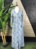 Original Vintage 1970s Cotton Ditsy Floral Long Sleeve Maxi Dress
