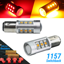 Red/Amber 1157 LED DRL Switchback Turn Signal Parking Light Bulbs+Resistors