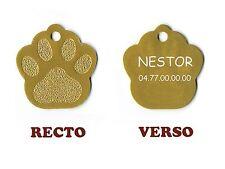 medaille gravee chien ou chat - modele petite patte de chat calinette - or