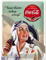 * Coca-Cola Merchandising Schild Werbung Poster Pilot Flugzeug Motiv Deko *436