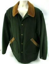 WOOLRICH Classic Mens Green Field Jacket Coat USA Wool/Nylon Corduroy Collar USA