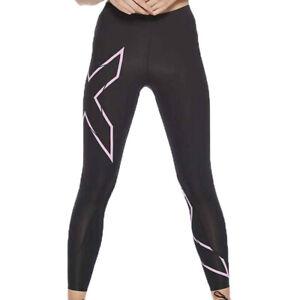 2XU Womens MCS Run Compression Tights Bottoms Pants Trousers Black Pink Sports