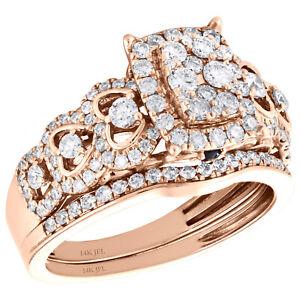 14K Rose Gold Diamond Cluster Enagement Ring + Wedding Band Bridal Set 0.88 CT.