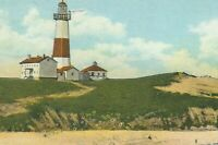 CI-305 NY, Long Island, Montauk Point Lighthouse White Border Era Postcard