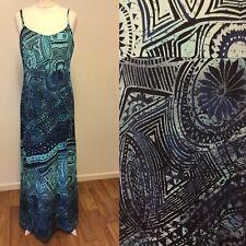 Long Tall Sally Blue Maxi Dress Size 14 Boho Print Summer Holidays