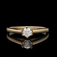1/4CT Round Created Diamond Engagement Ring 14K Yellow Gold 6-Prong Wedding Band