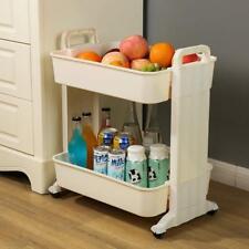 Rolling Shelves 2-Tier Kitchen Fruit Vegetable Storage Rack Trolley Service Cart