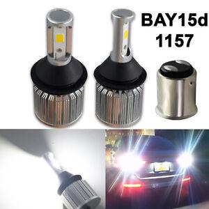 2x BAY15d 1157 7528 Super Bright COB LED Bulbs Back Up Reverse Light Xenon White