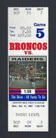 VINTAGE 1987 NFL OAKLAND RAIDERS @ DENVER BRONCOS FULL FOOTBALL TICKET - ELWAY