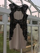 Authentic Lipsy Lace Edge Silhouette Dress Nude And Black Size Is UK 14