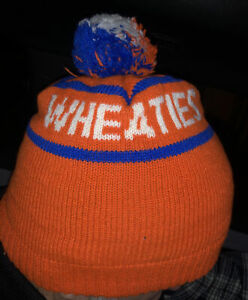 Wheaties Cereal VINTAGE Winter Hat Pom Beanie Bruce Jenner Olympic Decathalon
