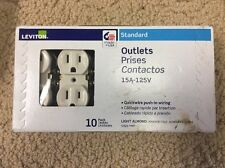 Leviton Standard Outlets 15A-125V Quickwire Push-in Wiring Light Almond 10 Pack