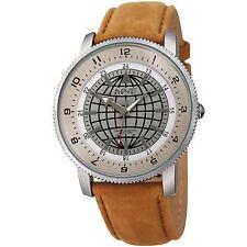 Men's August Steiner AS8213BR Three Hand Quartz Movement Leather Strap Watch