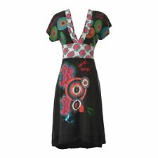 Desigual Mujer Vestido Rodilla Longitud Multicolor sin Mangas Profundo Genuino