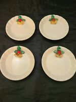Vintage Retro Ceramic Porcelain Christmas Holiday Holly Bells Coasters Set of 4