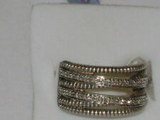 Sterling Silver Natural Diamond Rope Design Band Ring