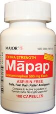 Major Acetaminophen 500 mg Capsules (Compare to Extra Strength Tylenol) 100ct