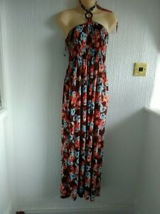 """Brown Blue Floral Maxi Dress Free Size 30 - 38"""" Bust"""