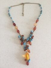 Colourful Vintage Necklace Adjustable lengths Gold Turquoise & Amber coloured