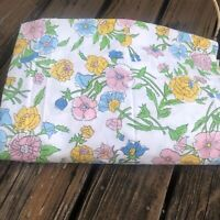 Vtg Pink Blue Floral Twin Fitted Sheet 60s 70s Green Yellow Bed Linens Bedding