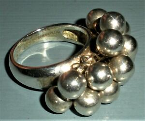 VINTAGE SIGNED STERLING SILVER TIFFANY & CO DANGLE BEAD BALL RING vafo