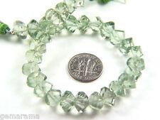 "Prasiolite Green Amethyst  Gemstone Step Cut Faceted Fancy Lantern Beads - 8"""