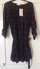 NEW Kate Moss Topshop Black Floral Striped Pleated Dress Size 8