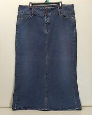 Levi Strauss Blue Jean Skirt Denim 18 Long Modest Back Slit Dark Wash Church
