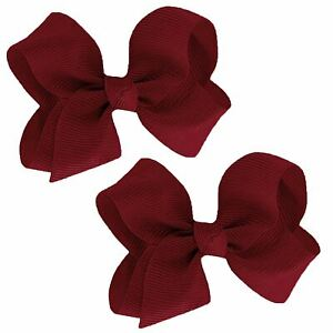 """WD2U Baby Girls Set of 2 Small GrosGrain 3"""" Boutique Hair Bows Alligator Clips"""