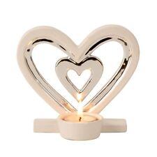 Moderner Teelichthalter Teelichtleuchter als Herz aus Keramik weiß/silber H 13cm